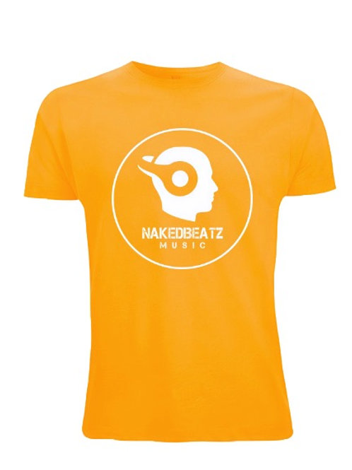 NAKEDBEATZ GOLD T-SHIRT (LARGE LOGO)