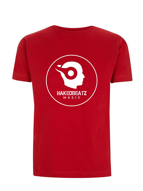 NAKEDBEATZ STEREO RED T-SHIRT (LARGE LOGO)