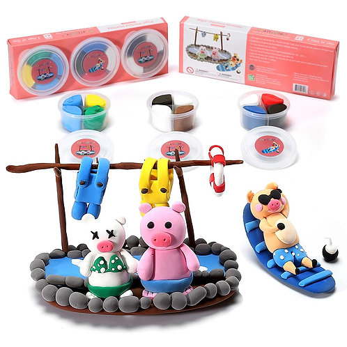 Pigs' Perfect Holiday | 12 Color Premium  Air Dry Modeling Clay Kit for Kids