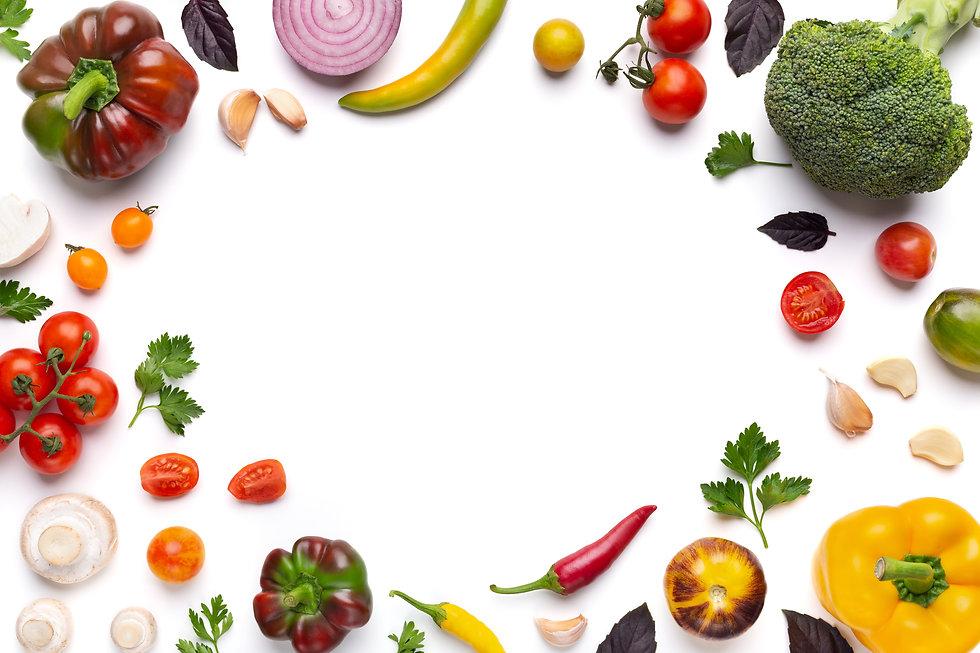 Organic fresh vegetables frame on white