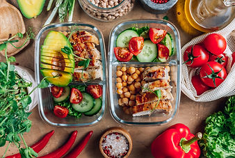 Healthy meal prep containers with chickp