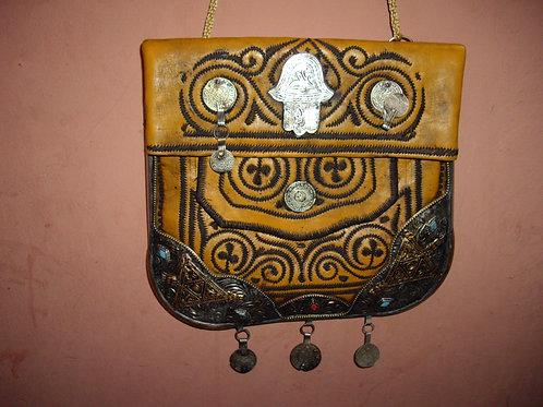 Hamsa Leather Bag - yellow/small