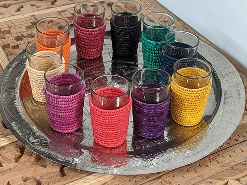 Tea-glasses in raffia