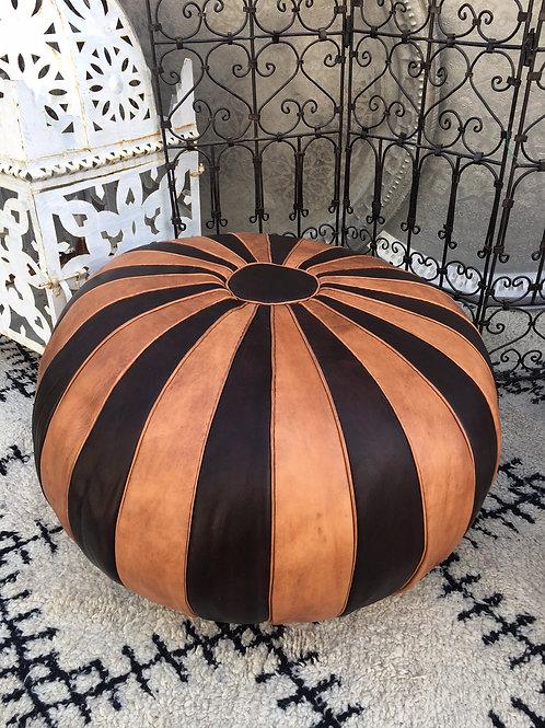 Ottoman Parachute XL Round Tan & Brown