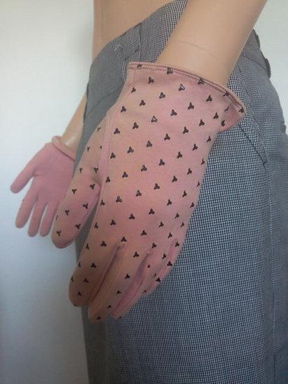 Gants suédine rose et trèfles noir T 8,5