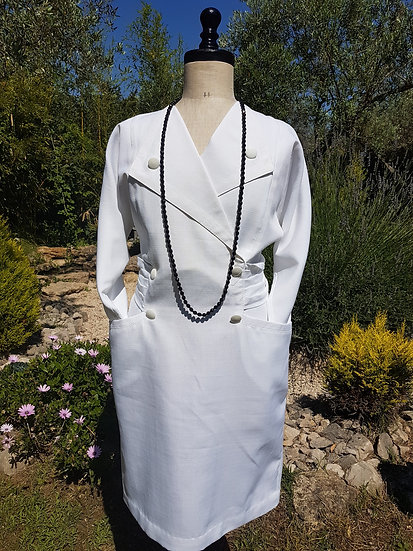 Robe tailleur blanche vintage Taille 42/44