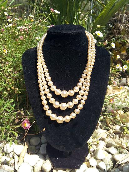Collier vintage perles 3 rangs