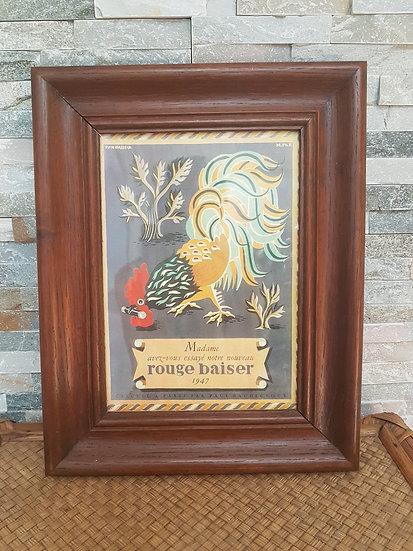 Publicité Vintage Rouge Baiser dans cadre en bois ancien