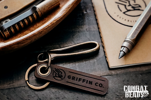 Griffin co. key tag with antique brass hook and key ring