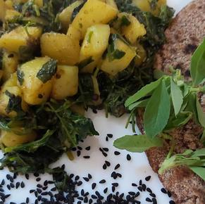 Methi aloo ki sabji / Fenugreek leaf and potato spicy stir fry