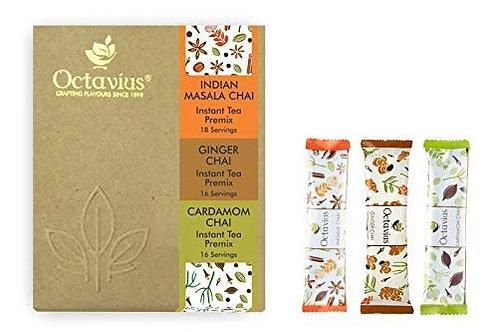 Octavius - Instant Masala Chai + Cardamom Chai + Ginger Chai 50 sachets