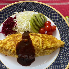Omu-Rice: omelet with chicken rice