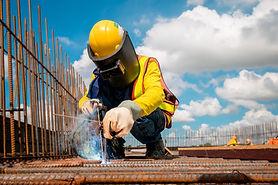 Industrial welder welding fabricated con
