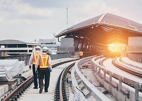 Inspector (Engineer) checking railway co