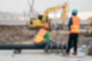 Construction worker connect HDPE pipe in