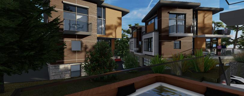 North Elevation View of Triplex & Duplex 2 - Viewed From Duplex 1
