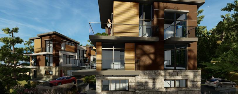 South Elevation View of Duplex 2 & Triplex