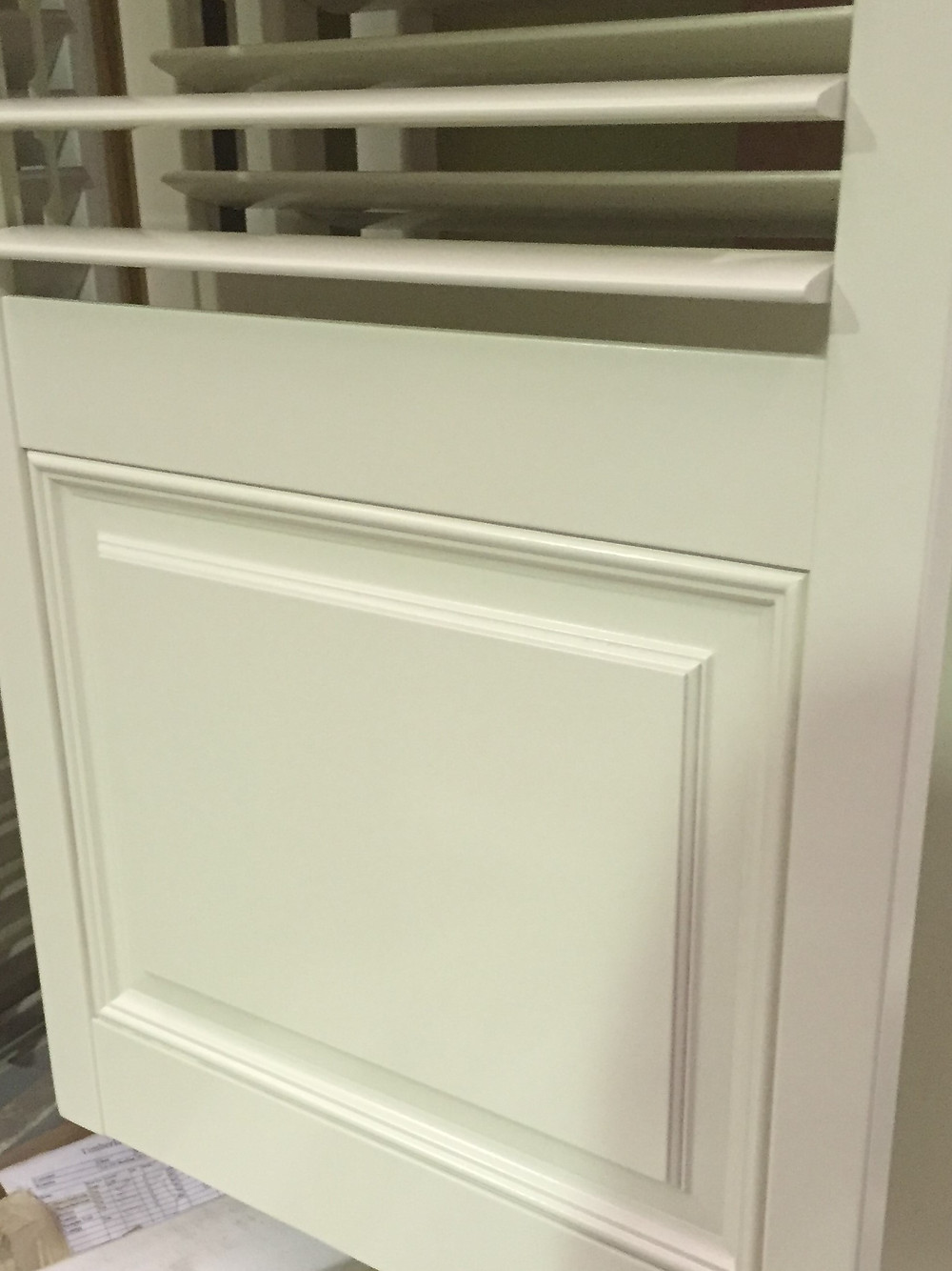 Close up of panelling on our custom made shutters