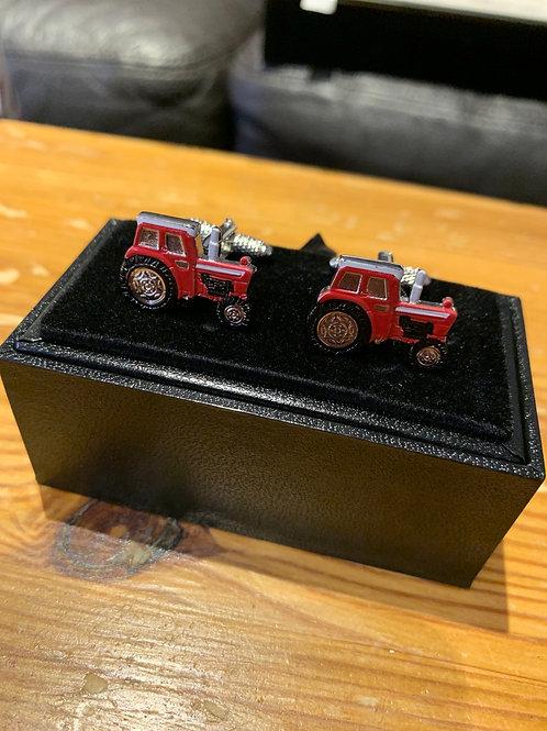 Onyx-Art Cufflinks -red Tractor