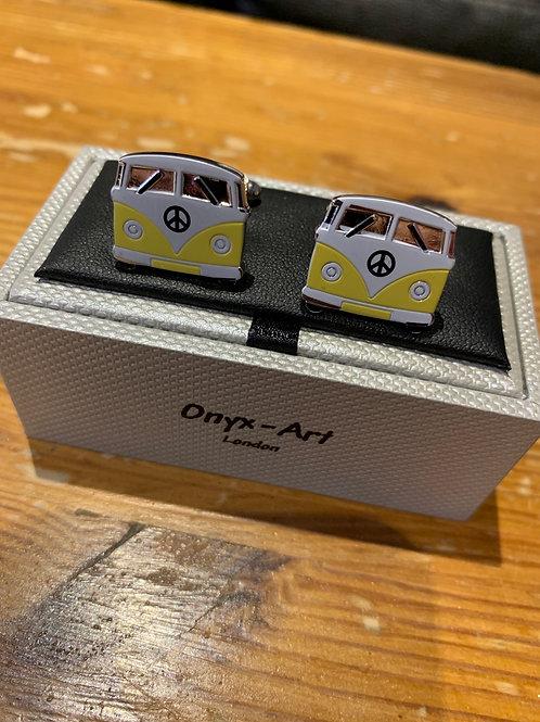 Onyx-Art Cufflinks -Yellow Vw Camper