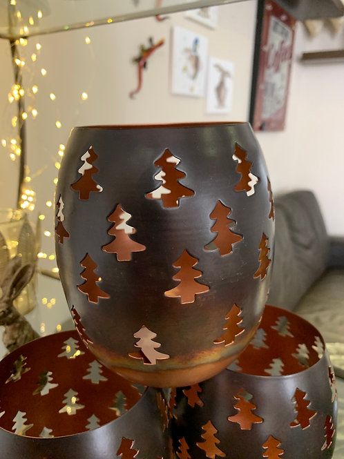 Copper look Christmas candle holder