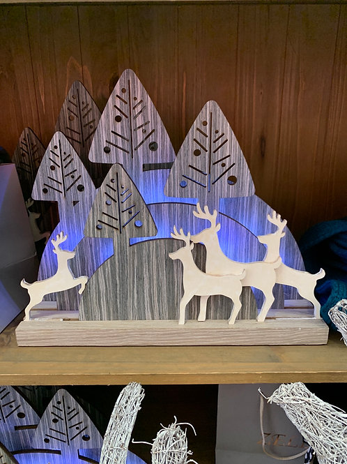 Wooden light up reindeer / Forest scene