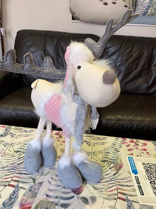 Plush pink & white reindeer ornamental