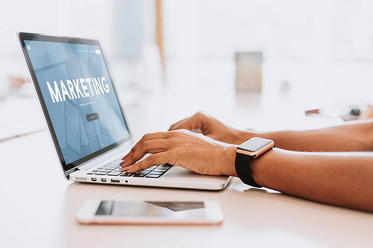 Marketing on laptop screen