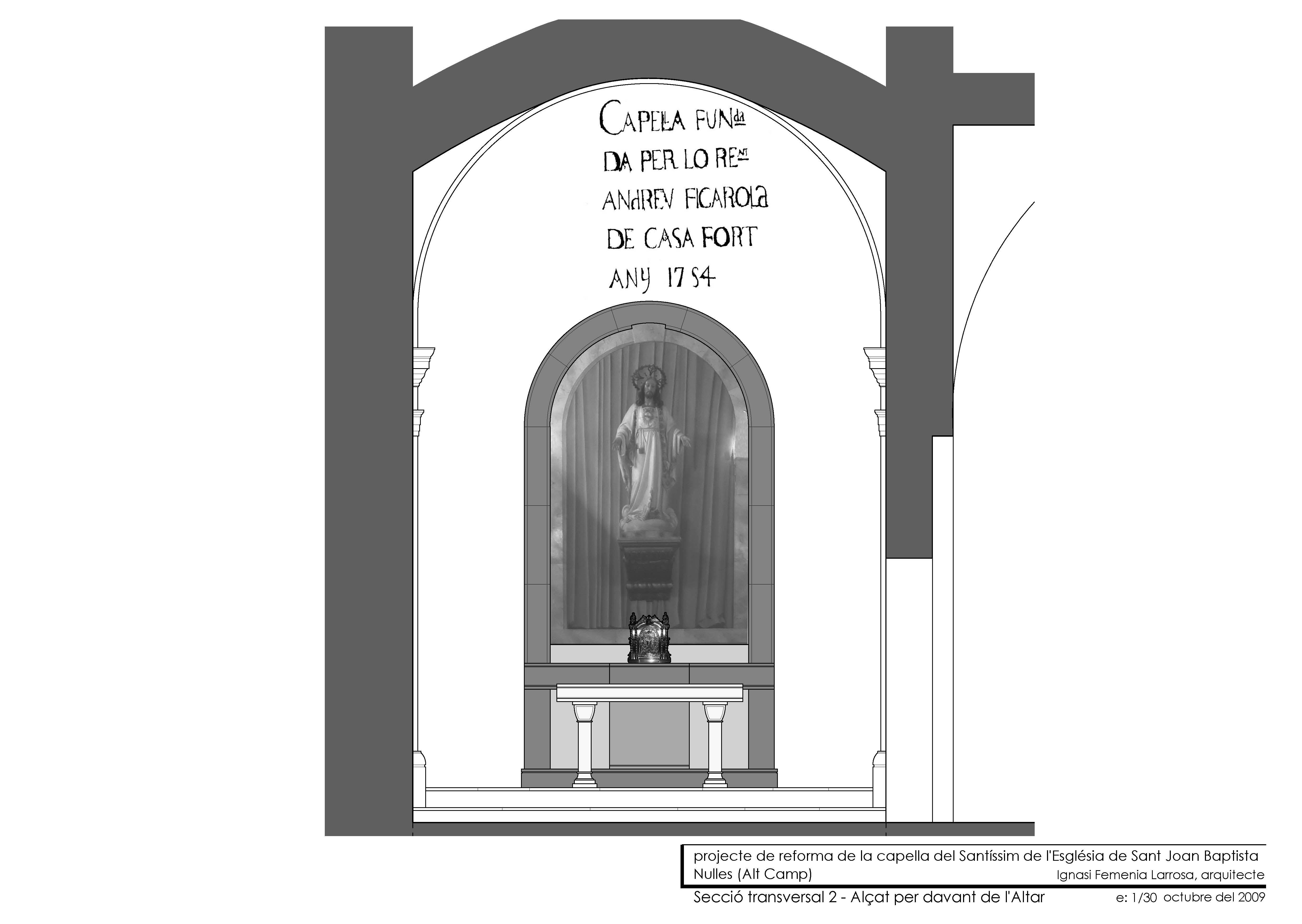 Secció transversal. Alçat altar.