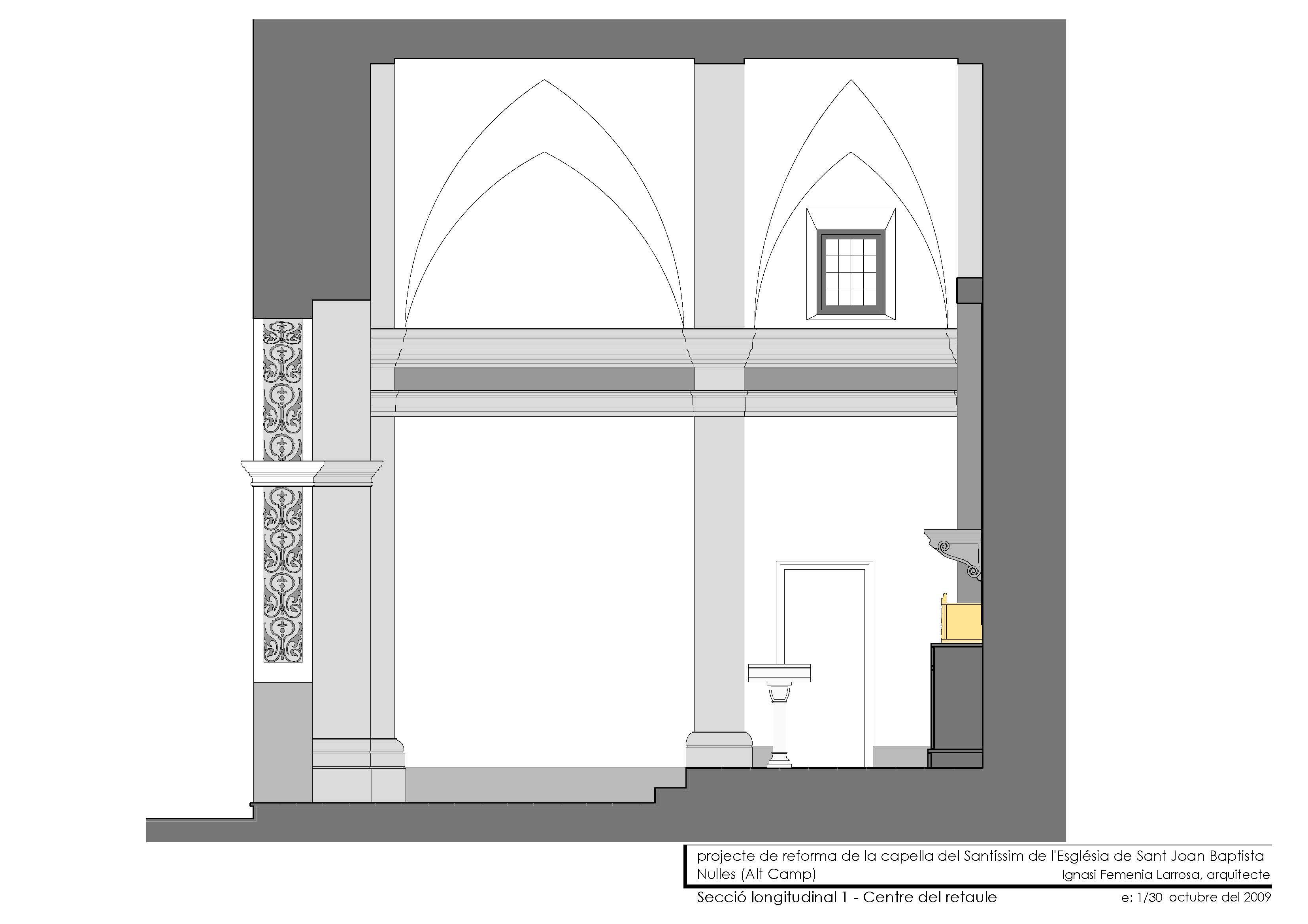 Secció longitudinal (centre retaule)