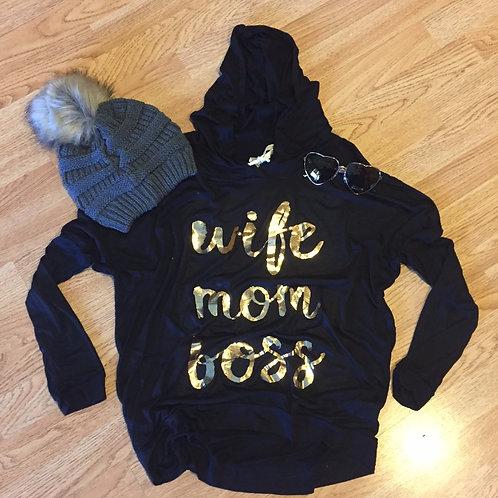Wife Mom Boss Gold/Black