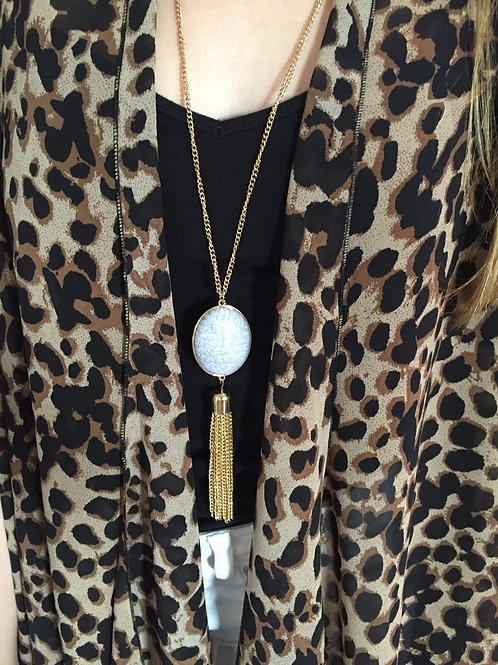 Blue Gem and Gold Tassel Necklace