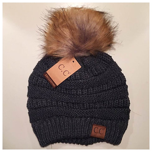 Grey Beanie with Puff