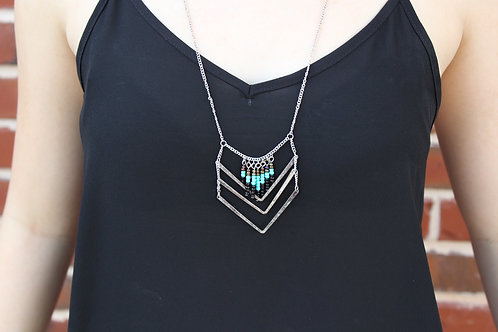 Silver Arrow and Turquoise Necklace