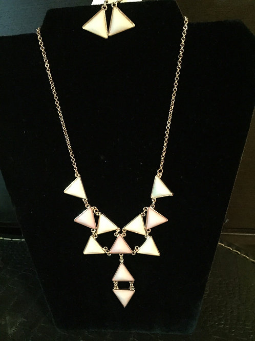Gold Necklace with Pink Triangles