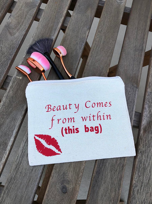 Beauty Comes From Within This Bag-White