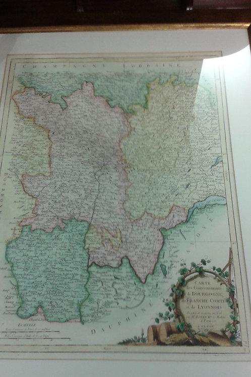 Carta geografica di Borgogna e Lione