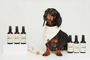 Photography of dog with skincare range
