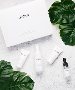 Photography of skincare in styled flat lay setting