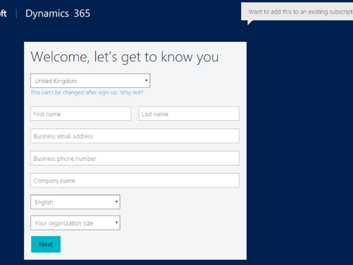 Create a Dynamics 365 Customer Engagement Trial