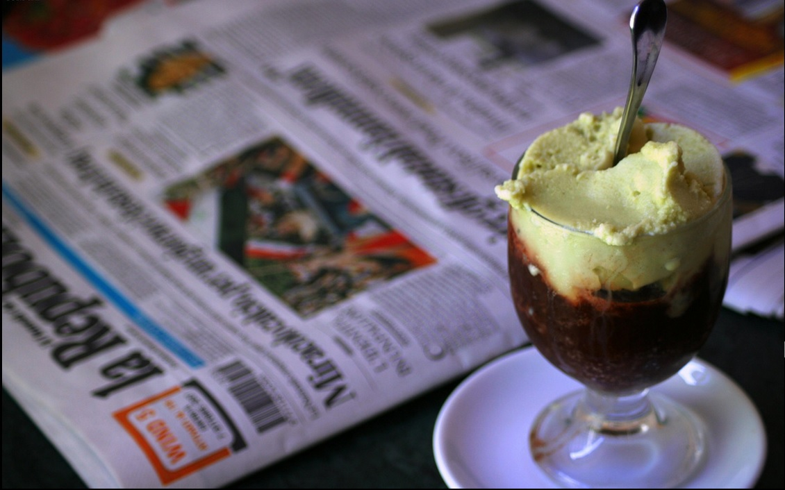 Granita pistacchio and chocolate