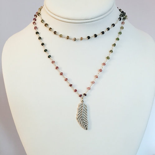 Double Wrap Beaded Feather Necklace