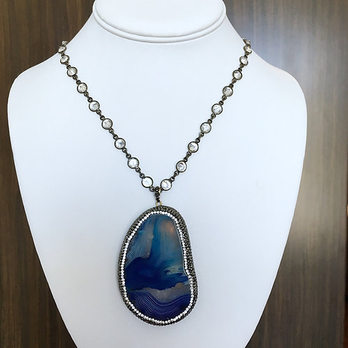 Blue Agate Stone Necklace