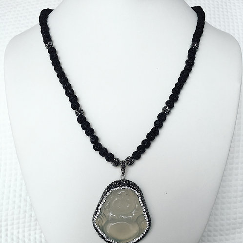 Lava Bead Buddha Necklace