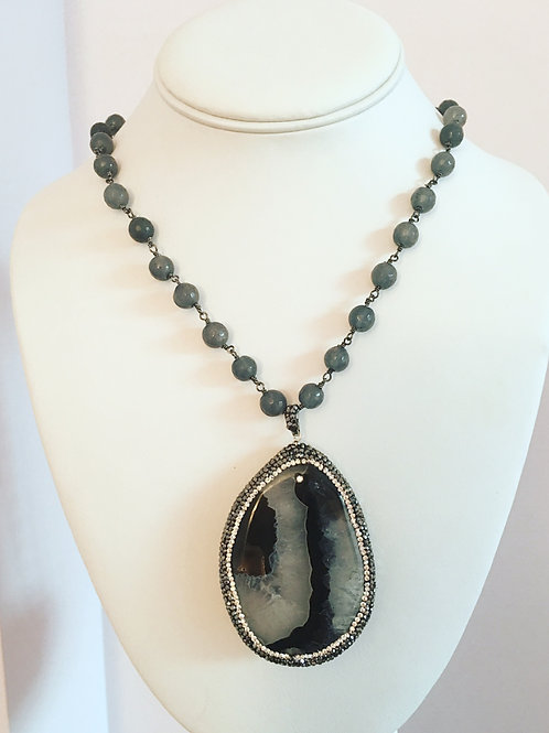 Grey Jade Beaded Agate Slice Necklace