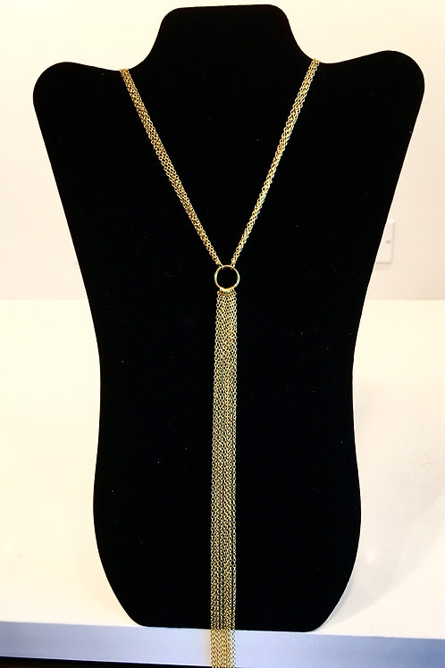 Gold Ring Fringe Necklace
