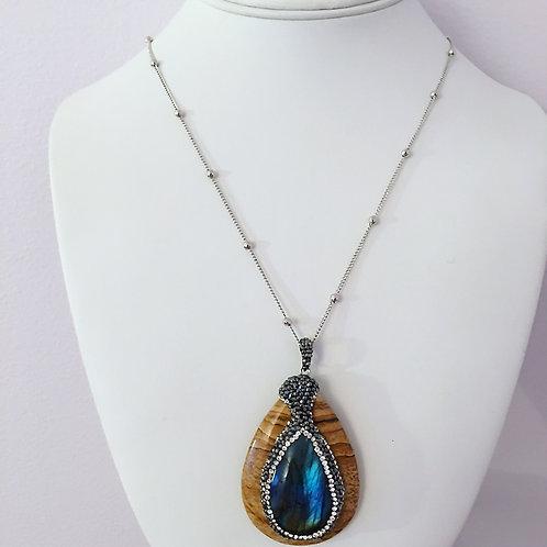 Wood Labradorite Necklace