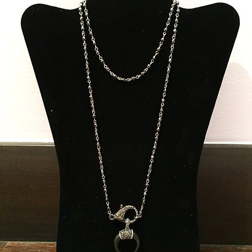 Double chain Crescent Necklace
