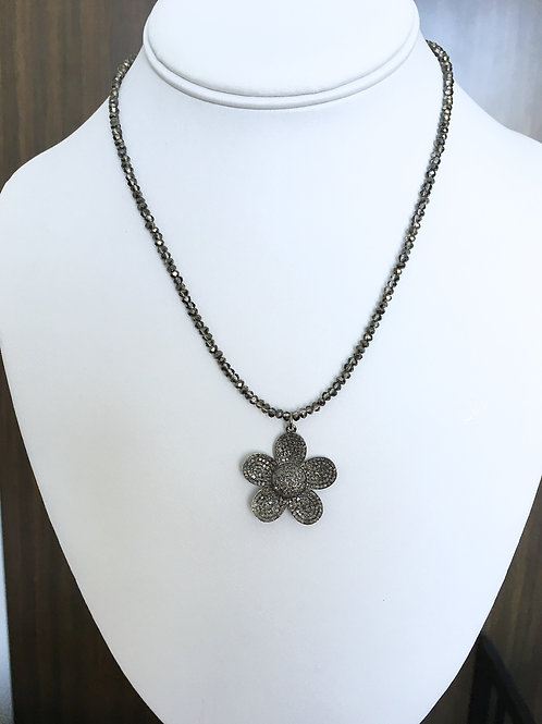 Real Pave Flower Beaded Necklace