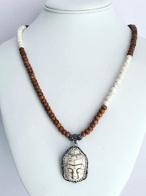 Wood Buddha Necklace
